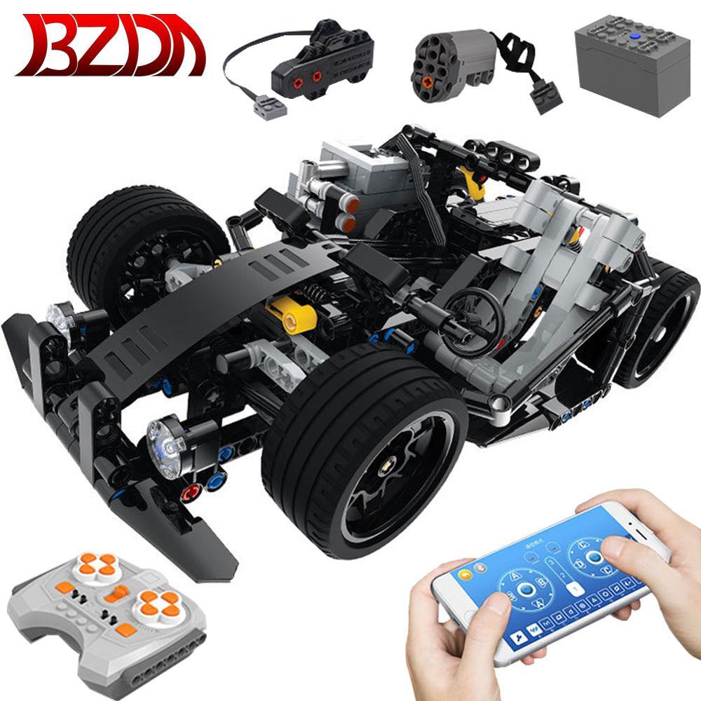 Bzda famosa marca remoto rc carro blocos de construção kart técnica tijolos poderoso motor dublê carros brinquedos para o menino presente aniversário