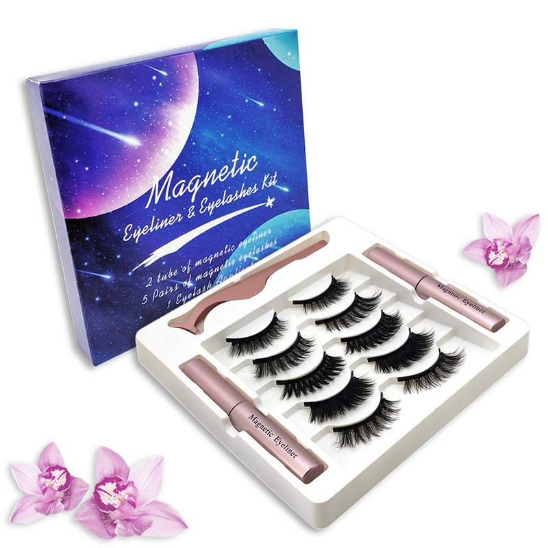 5 Pairs <font><b>Magnetic</b></font> False <font><b>Eyelashes</b></font> Waterproof Easy to Wear Liquid <font><b>Eyeliner</b></font>& <font><b>Magnetic</b></font> Lashes & Tweezer <font><b>Set</b></font> <font><b>Eyelash</b></font> Extension TSLM1 image