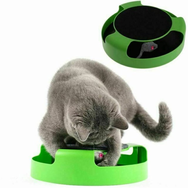 Pet Cat Kitten Catch The Mouse Plush Motion Chase Toy Claw Care Moving Play Scratching Pad Mat Cat Toy Mouse Board Interactive