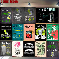 Gin Tonic Recipe Vintage Metal Tin Signs Negroni Martini Cocktail Poster Pub Bar Party Wall Decor Gintleman Funny Plaque N349