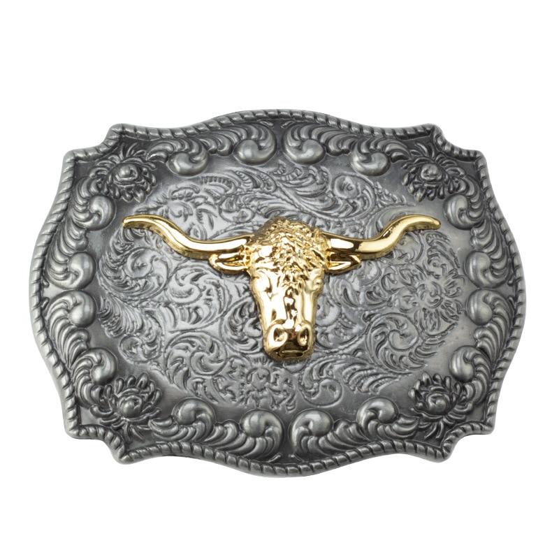 Golden Bull Head Belt Buckle Handmade Homemade Belt Accessories Waistband DIY Western Cowboy Rock Heavy Metal Music Style
