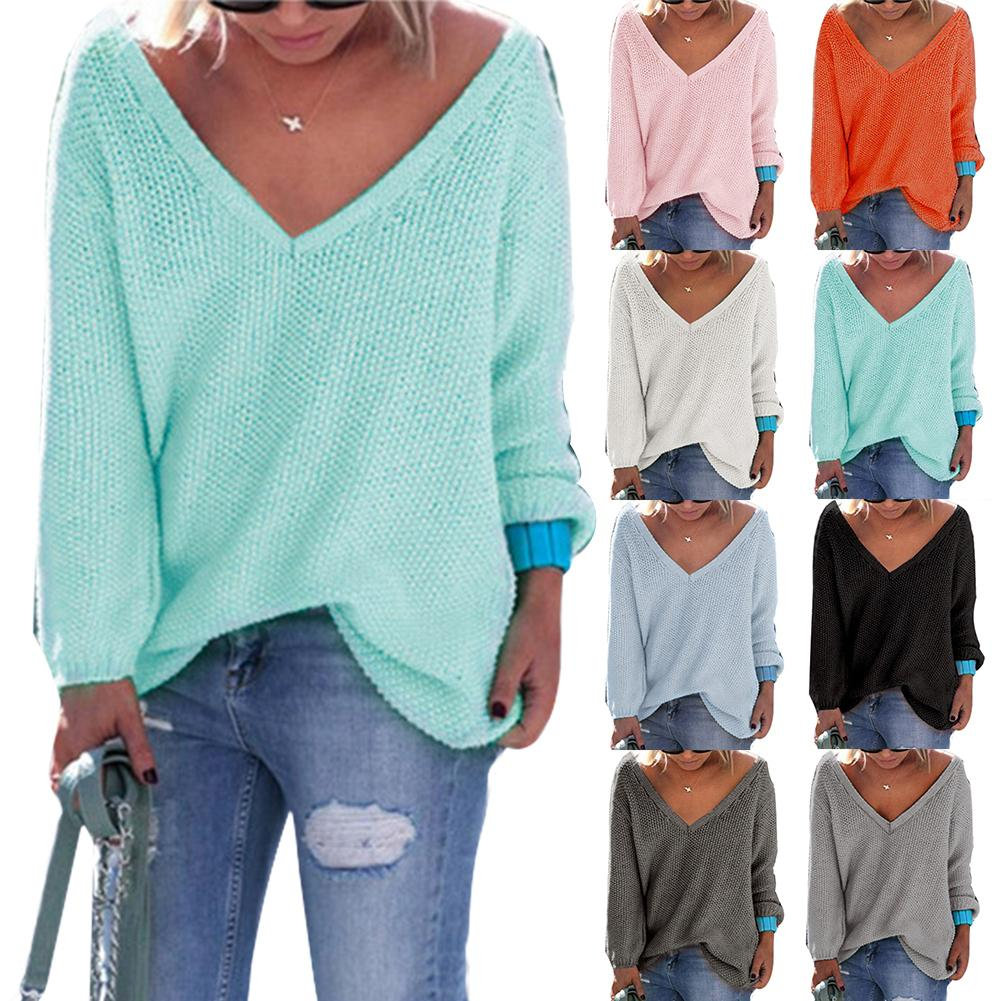 Sweater Autumn And Winter Ladies Casual V-neck Solid Color Long-sleeved Sweater