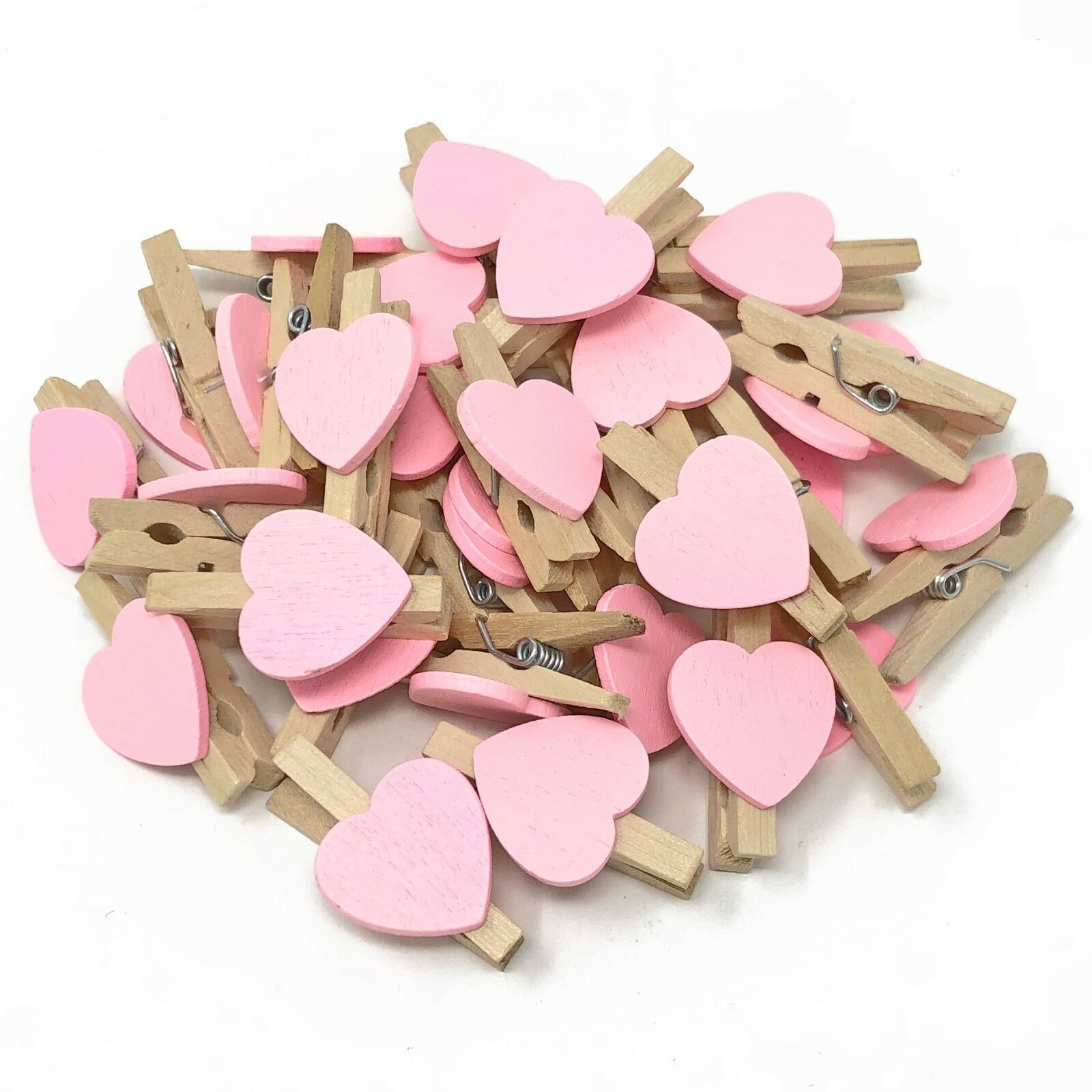 NATURAL PEGS WITH LIGHT PINK HEARTS 30mm Small Wooden Craft Pegs Wedding