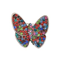 Gariton Fashion Handmade Colorful Butterfly Crystal Rhinestone Gold Tone Brooch Pin for Women Lady Costume Jewelry