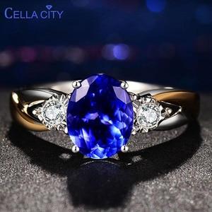 Image 1 - Cellпростые классические серебряные кольца 925 пробы, роскошные ювелирные изделия с овальным сапфиром, женский свадебный подарок с цирконием
