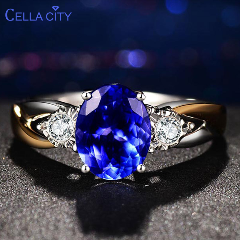 Cellacity classic 925 Silver Rings Luxury Jewelry With Oval Sapphire Gemstone Silver Ring For Women Zircon Wedding Gift