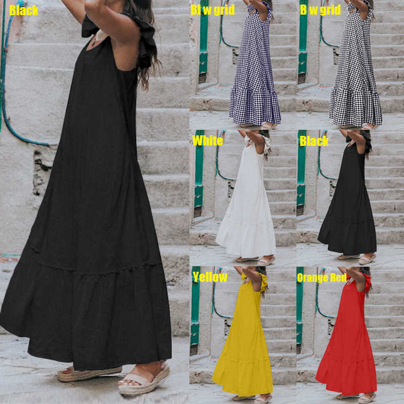 Лето 2019, женское сексуальное платье, короткий рукав, гофрированное, макси, длинное платье, повседневное, свободное, одноцветное, плиссированное, Пляжное Платье размера плюс