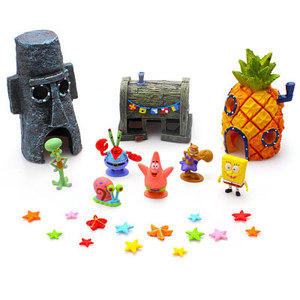 Aquarium Spongebob Decoratie Zeester Beeldjes Squidward Tentacles Patrick Star Aquarium Landschapsarchitectuur Ornament Kid Gift(China)