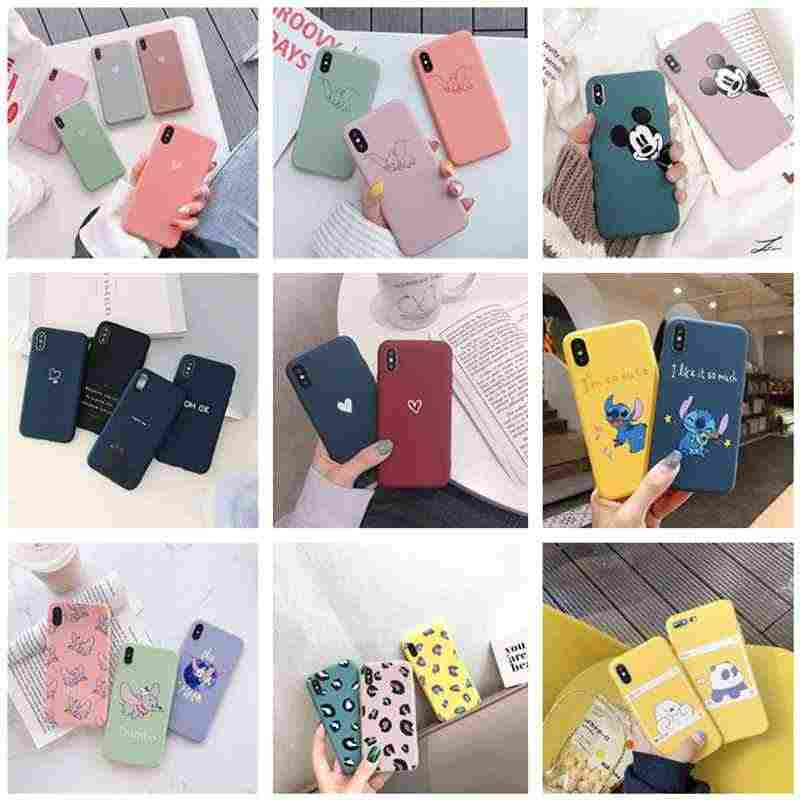 Phone Case For iPhone 6 6s 7 8 Plus X XR XS Max 5 Cute Heart Love Bear Cartoon Soft TPU Matte Candy Color For iPhone 7plus Cover