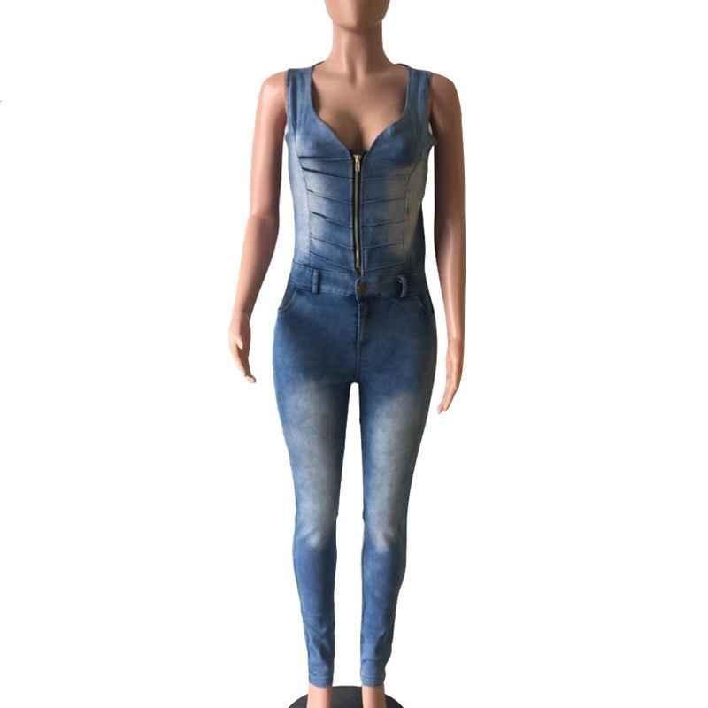Nowe mody kobiet kombinezon seksowny zamek błyskawiczny z przodu seksowne spodnie dżinsowe z wycięciem na plecach długi kombinezon kobiet denimowe fartuchy Skinny Plus rozmiar
