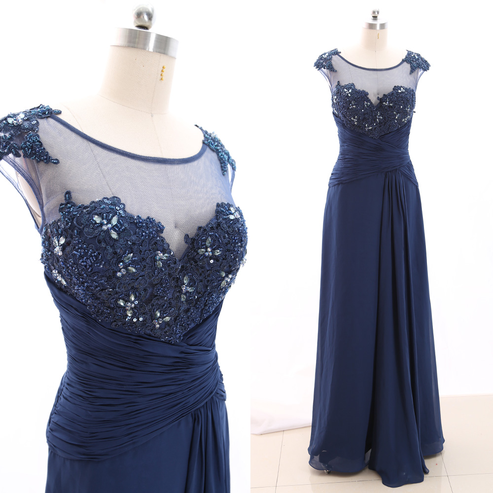 MACloth Dark Navy A-Line O Neck Floor-Length Long Crystal Chiffon   Prom     Dresses     Dress   S 266529 Clearance