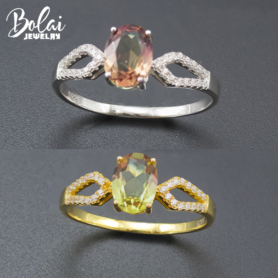 Bolai Color Change Sultanit Ring 925 Sterling Silver Nano Diaspore Gemstone Fine Jewelry Simple Wedding Ring For Women 11.11