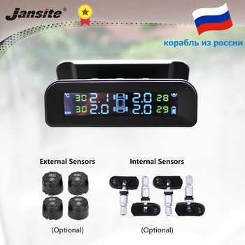 Sistema de Monitor Jansite TPMS con alarma de presión de neumático de coche pantalla en tiempo Real unida a tpms de energía Solar inalámbrica de vidrio con 4 sensores