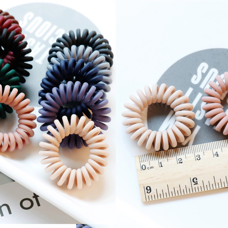 Fashion 1PC/2PCS Dull Polish Telephone Wire Hair Ties Adjustable Korean Elastic Donut Ponytail Hairstyle Gum Hair Ring 10 Colors