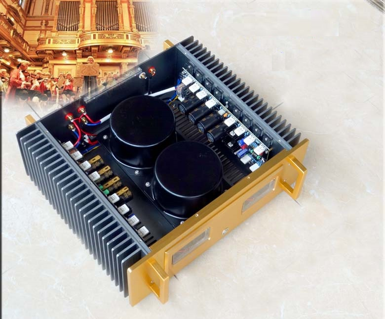 Size: W430 H359 L150 2SC5200 2SA1943 drivers Gold Circuit Pure Class A Power Amplifier Finished Machine image