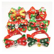 Pet Cat Dog Collar Bow Tie Christmas Holiday Adjustable Neck Strap Cat Dog Groom