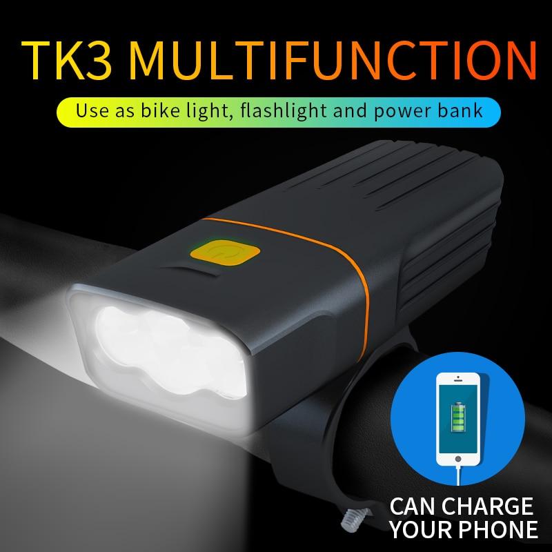 2400 MAh Bicycle Headlight Waterproof 3*T6 2400LM Bike Light Built-in Batteries USB Charging 3 Mode As Power Bank Bicycle Lamp