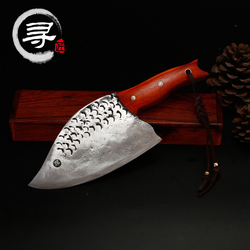 YEELONG Handmade Carbon Steel Cleaver Chopper Kitchen Chef Home Professional Knife with wood handle