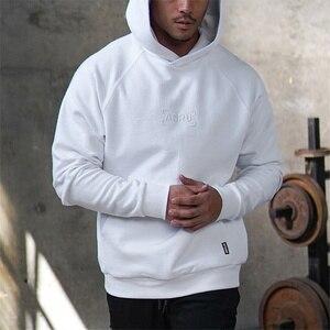 Image 2 - Мужская толстовка с капюшоном и вышивкой для фитнеса, однотонная толстовка с длинными рукавами для бодибилдинга, зима 2019