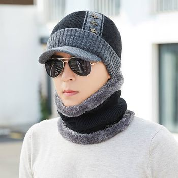цена на 2019 Thick Winter hat Scarf Set Men Women Thicken Cotton Skullies Beains Casual Warm Hat Ring Scarf Female Hats Men High Quality