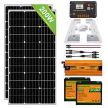 Arrancador de placa solar RV de 100W/200W, actualización, Kit completo de litio, controlador de batería Dual de 20A y soportes de montaje