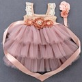 2021 New Toddler Infant Baby Dresses 1 Year Birthday Christening Lace Princess Summer Flowers Party wedding Kids Girls Outfit