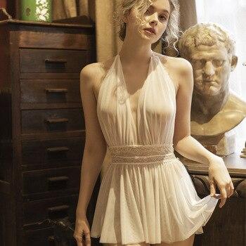 Sexy Women Dress Sleepwear Sleeping Nightdress Lace Deep V Neck Waistband Marilyn Monroe Costume Sling Girl Night Gown
