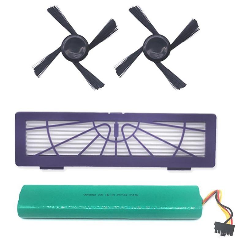 4Pcs HEPA Filter Side Brush Battery for Neato D70E D75 D80 D85 Vacuum Cleaner|Vacuum Cleaner Parts| |  - title=