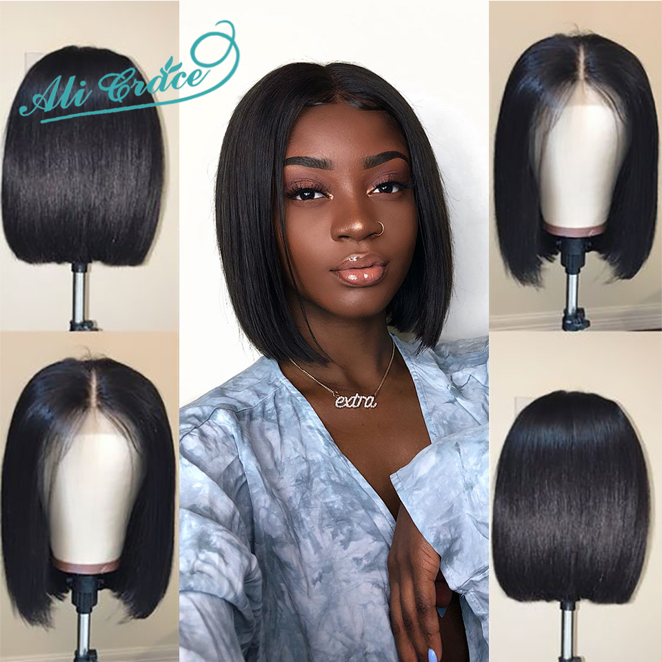 Ha279a97f7801431d92feb183c6468809u Short Human Hair Wigs For Black Women Ali Grace Peruvian Remy Hair Lace Front Wigs With Pre Plucked Hairline Blunt Cut Bob Wigs