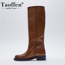 Taoffen-Botas hasta la rodilla de cuero auténtico para mujer, zapatos de plataforma a la moda, calzado de Botas Largas y oficina, talla 33-43