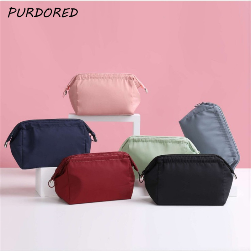 PURDORED 1 Pc Women Zipper Cosmetic Bag Solid Color Female Makeup Bag Travel Toiletry Beauty Makeup Bag Organizer Kosmetyczka