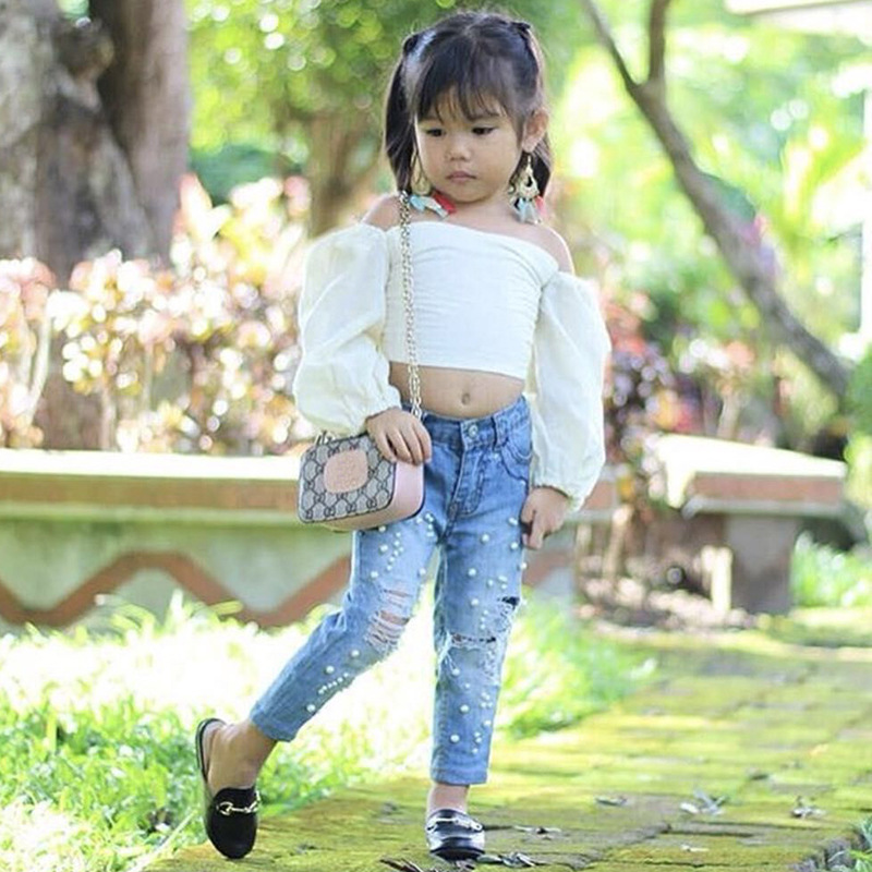 Baby Girls Clothes Set Off Strapless Shoulder White Long Sleeve T shirt Tops Holes Pants Summer Cotton Kids Girl Outfits in Clothing Sets from Mother Kids