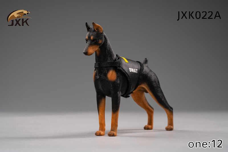 Collectible Em Estoque 1/12 Escala Jxk022 Dobermann Modelo Animal Acessório Preto Cor Da Pele Brinquedo de Estimação para 6''Action Figura