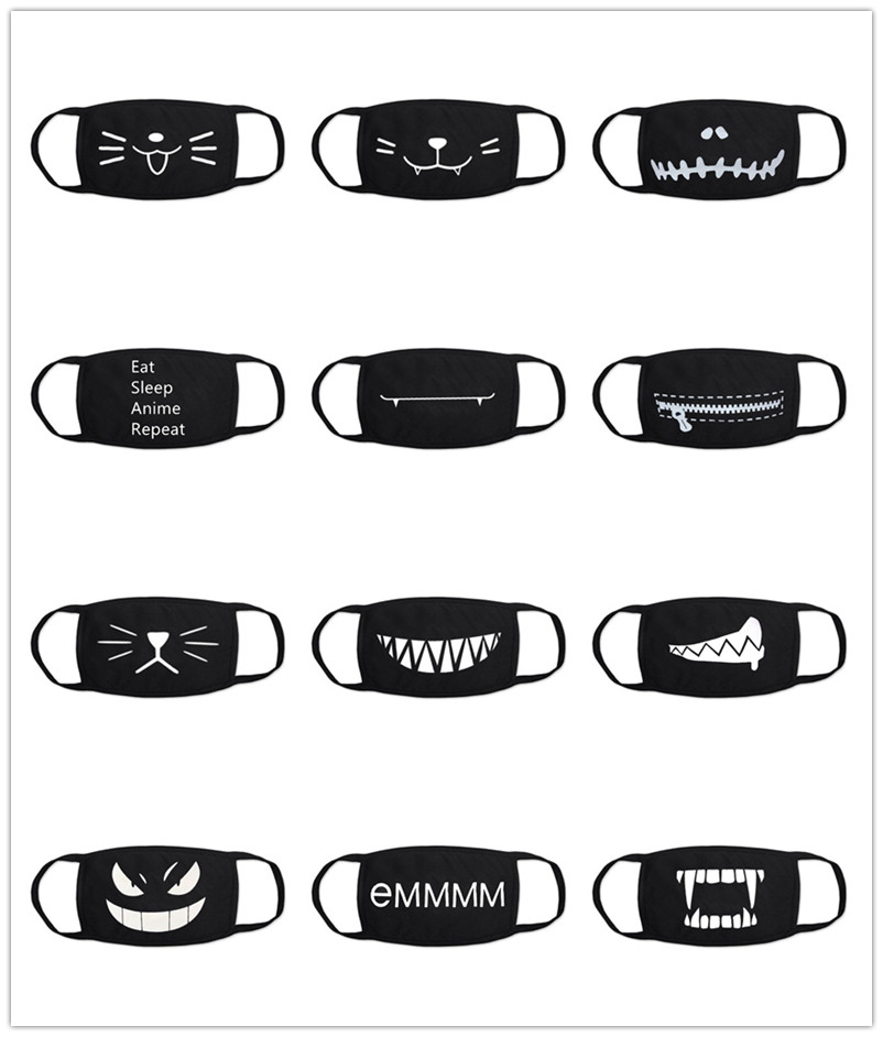 Black Cotton Mouth Mask Unisex Teens Anti-Dust Mask Anime Mask Fashion Health Face Mouth Mask 20 Styles
