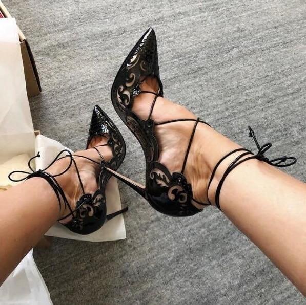 Cuir verni noir évider pompes chaussures femmes Sexy bout pointu découpé à lacets talons minces sandales à bretelles chaussures Banquet pompe