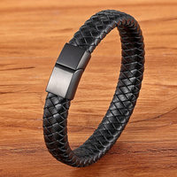 Fashion Stainless Steel Charm Magnetic Black Men Bracelet Leather Genuine Braided Punk Rock Bangles Jewelry Accessories Friend