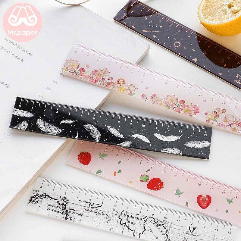 Señor papel, 6 diseños, 15cm, regla de Color acrílico de paja, regla multifunción DIY, reglas para dibujo para niños, estudiantes, oficina, escuela, papelería