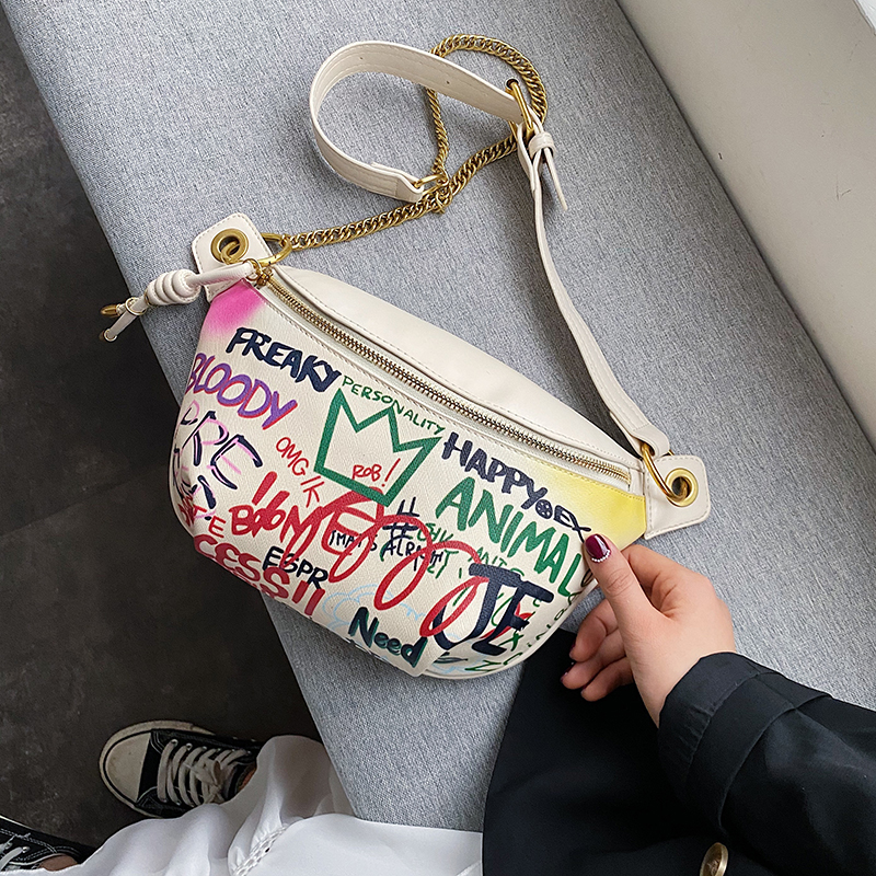 Women Chest Bag Graffiti PU Leather Crossbody Bag For Lady 2020 Fashion Chain Shoulder Messenger Bag Female Letter Handbag