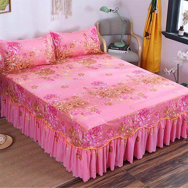 Brand 100%  Cotton With Lace Bed Sheet + 2pcs Pillow Case Bedding Set Bedding 3 Piece Set Pastoral / Fashion Plaid Sheets 2019