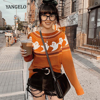 Yangelo Gothic Ghost Pattern Sweater Women Knit Top Loose Long Sleeves Warm Autumn Winter Streetwear Fashion Girl Pullover 2020 1