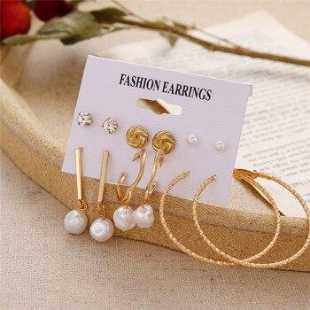 Bohemian Tassel Acrylic Earrings Set For Women Big Geometric Round Heart Pearl Rhinestones Earrings boucle doreille femme 2019 3
