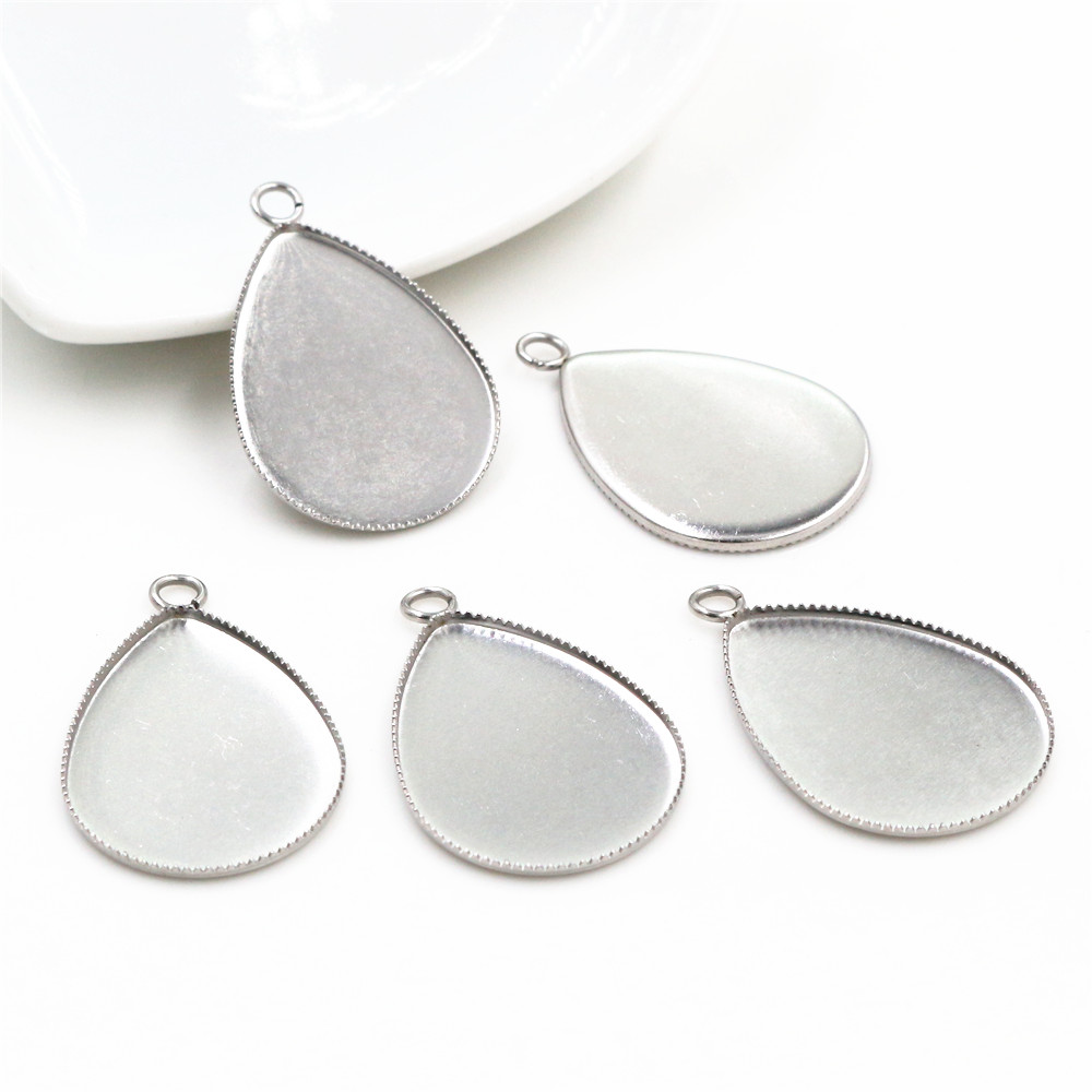 ( No Fade ) 10pcs 18x25mm Inner Size Stainless Steel Material Simple Style Cabochon Base Cameo Setting Pendant Tray (C3-42)