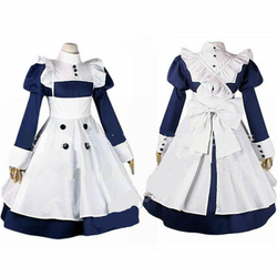 Alta Quallity Anime Black Butler Mey Rin Maid Traje Da Empregada Doméstica Traje Cosplay Mulher Vestido + Avental + Acessório