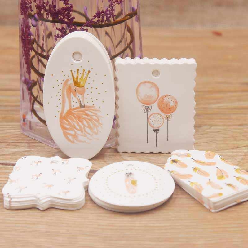 2019 New diy parking tag 5x3cm /4x4cm/6.4x3.5cm/4.7x4cm/3.9x3.9cm 50 tag scallop shape white color for wedding candy gift tags