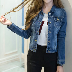 Короткая джинсовая куртка осень-зима 2020, женская белая Повседневная джинсовая куртка с длинным рукавом, Потертая джинсовая куртка