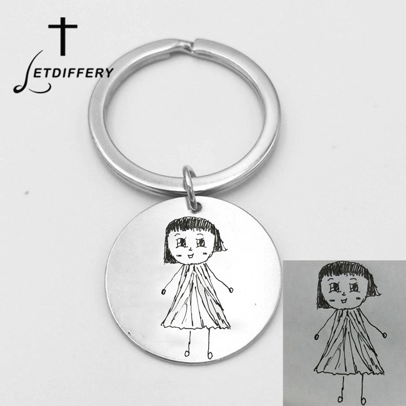 Letdiffery Custom Kids Drawing DIY Keychains Engrave Artwork Handwriting Stainless Steel Personalized Keyring Mother Kid Gifts