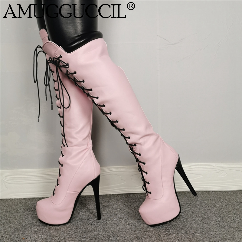 2020 New Plus Big Size 35-52 Pink Lace Up Sexy Thigh High Heel Platform Over The Knee Autumn Winter Female Lady Women Boot X1916