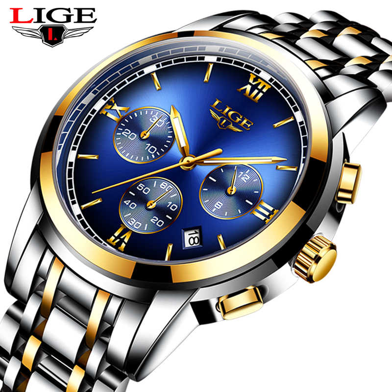Montre Homme  Watch Men Luxury Brand LIGE Chronograph Men Sport Watch Waterproof Full Steel Quartz Men Watches Relogio Masculino