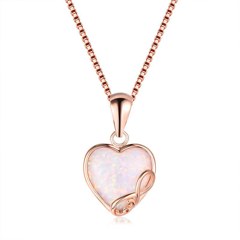 Cellacity Heart shaped Gemstones Silver 925 Jewelry Opal Pendant Necklace for Women Rose Gold Color Female Neck ornament Party 3