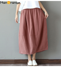 2019 Spring Autumn New Retro Literary Cotton Linen Skirt Bud Shaped Lanterns